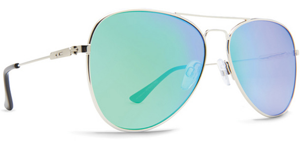 Dot Dash Aerogizmo sunglasses in silver gloss with green lenses DSMJAER-SSG