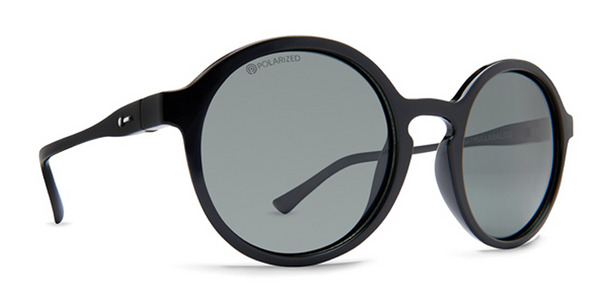 Dot Dash Hullabaloo sunglasses in black gloss with grey polarized lenses DSVTJHUL-BPP