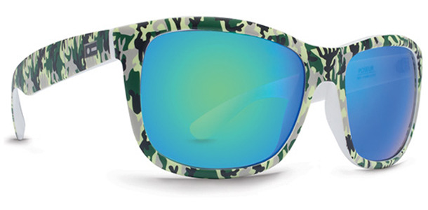 Dot Dash Poseur sunglasses in jungle camo with green chrome lenses DSVTNPOS-GRN
